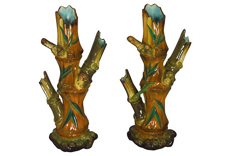 19th-C. Bamboo Pattern Vases, Pair