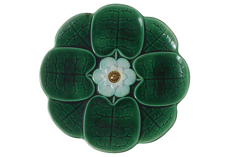 19th-C. Majolica Water Lily Wall Plate