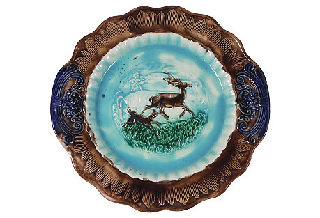19th-C.  English Majolica Deer Platter