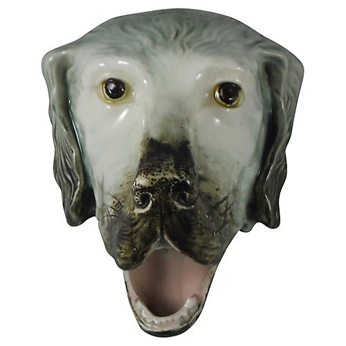 Majolica Dog Head, C.1900