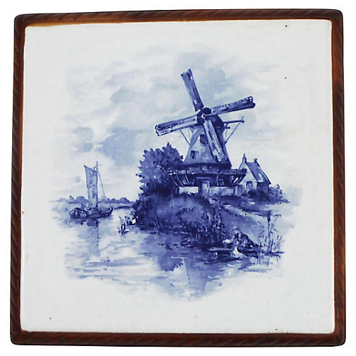 Blue & White Windmill Trivet