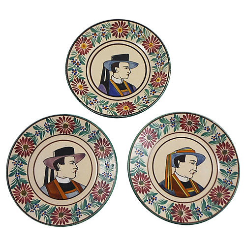 French Faience Quimper Plates, S/3