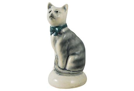 Majolica Grey Cat Money Bank