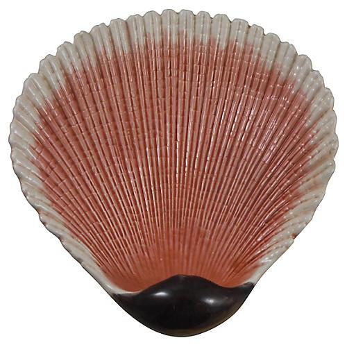 19th-C. Majolica Shell Dish
