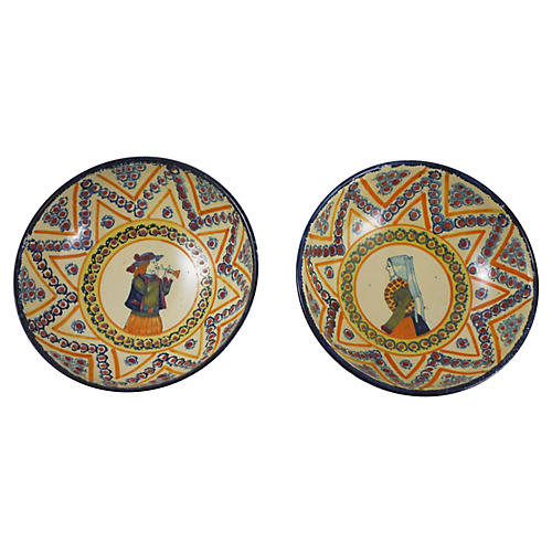 French Quimper Bowls, Pair