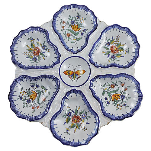 19th Faience Butterfly Oyster Wall Plate