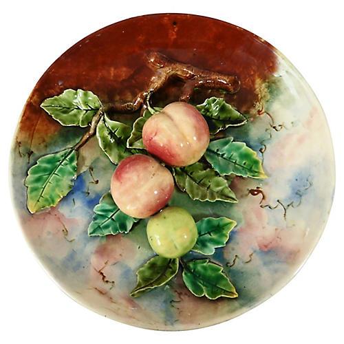 19th-C. Majolica Apricots Wall Platter