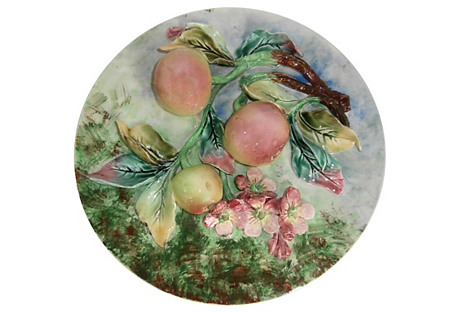 19th-C. Majolica Apples Wall Platter