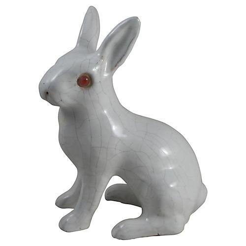 French Bavent White Terracotta Rabbit