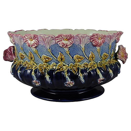 19th Majolica Morning Glory Jardiniere