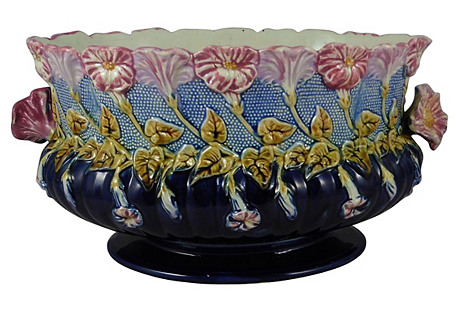 19th C Majolica Morning Glory Jardiniere