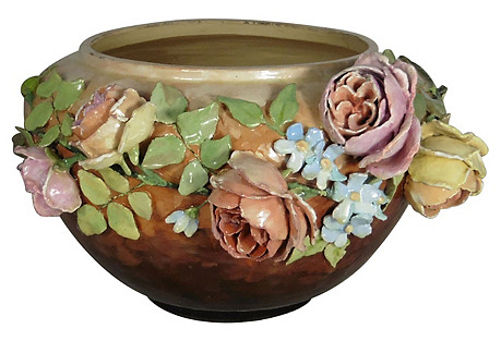 Large 19th C. Majolica Floral Jardiniere