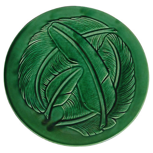 Green Majolica Feathers Plate