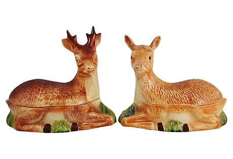 Majolica Deer & Doe Tureens, Pair