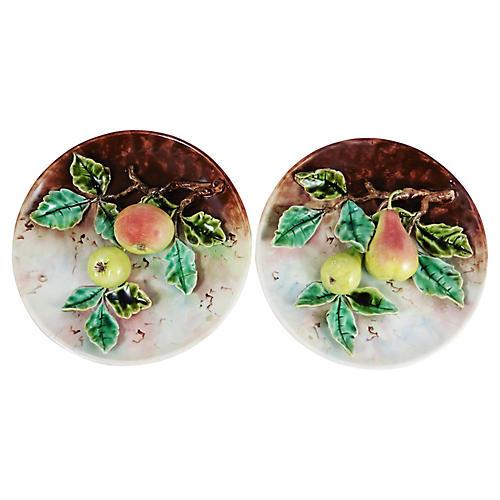 Majolica Pears & Apples Plates, Pair
