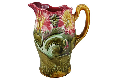 19th-C. Majolica Poppies Pitcher