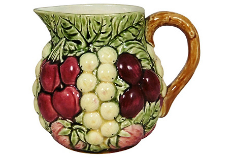 Majolica Sarreguemines Fruit Pitcher