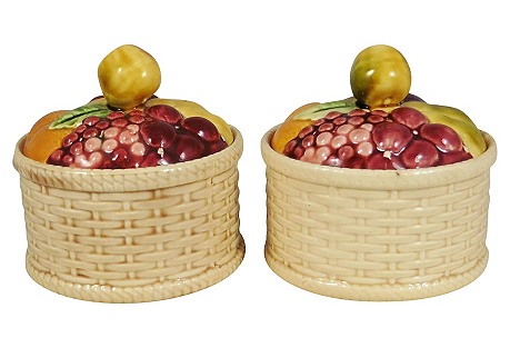 Majolica Fruit Basket Tureens, Pair
