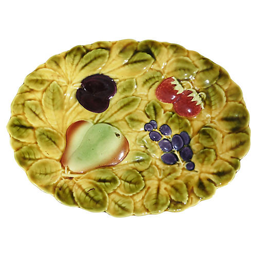 Oval Majolica Fruit Platter