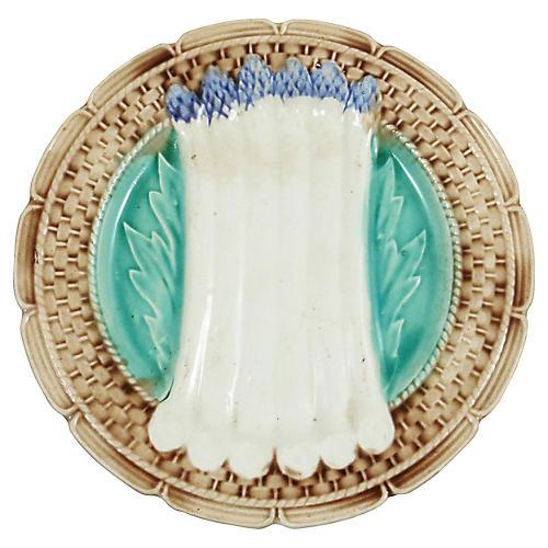 Majolica Asparagus Plate