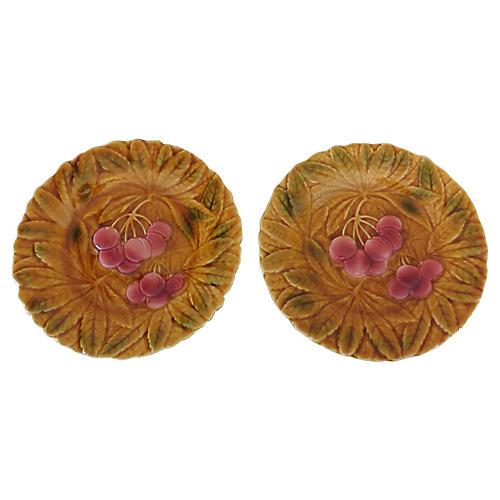 Majolica Cherry Plates, Pair