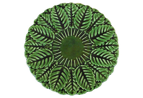 Green Majolica Leaves Plate