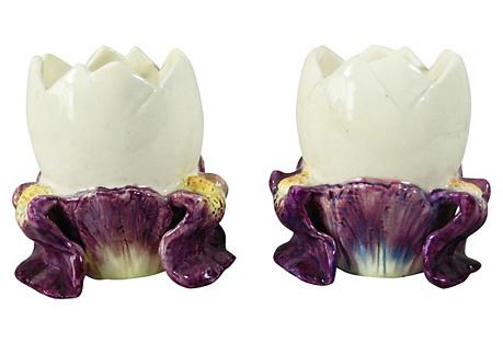 Iris Egg Majolica Vases, Pair