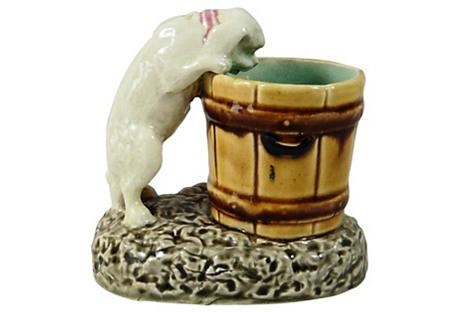 19th C. Choisy Le Roi Majolica Dog Vase