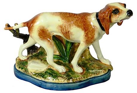 Majolica Hunting Dog Jardiniere Massier