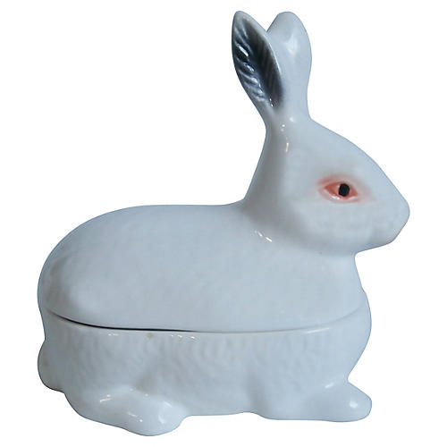 White Majolica Rabbit Tureen