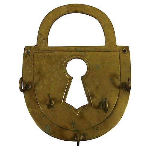 Brass Padlock Key Holder
