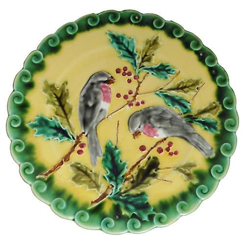 Majolica Birds & Holly Wall Plate