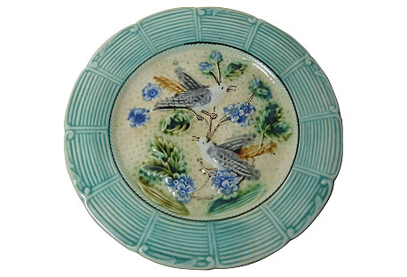 Majolica Birds & Blue Flowers Wall Plate