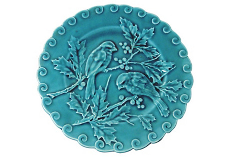 Blue Majolica Birds & Holly Wall Plate