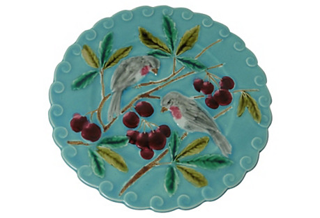 Majolica Birds & Cherries Wall Plate