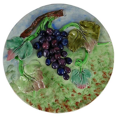 Majolica Grape Wall Platter