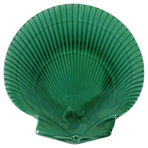 Green Majolica Shell Plate