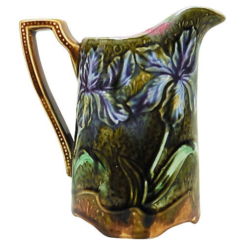 Majolica Iris Pitcher