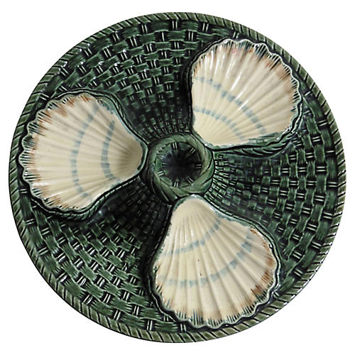 Majolica Three Shells Oyster Wall Plate