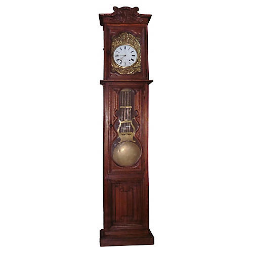 19th-C. Oak Grandfather Clock