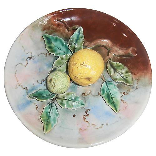 Majolica Grapefruit Wall Plate