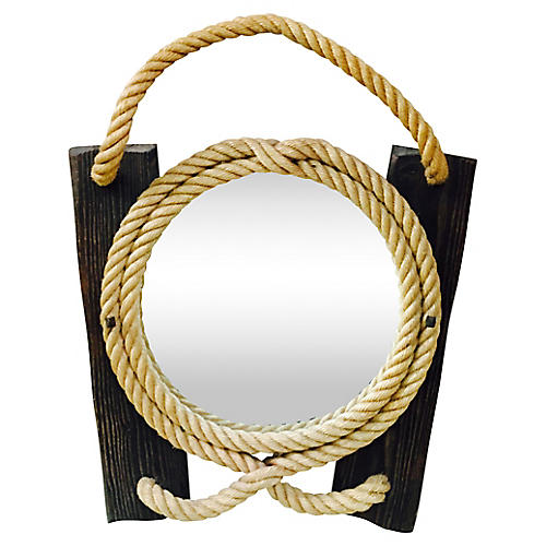 Rope & Wood Mirror Circa 1960