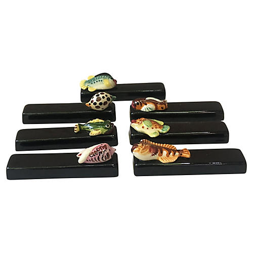 Majolica Fish Knife Rests, S/7