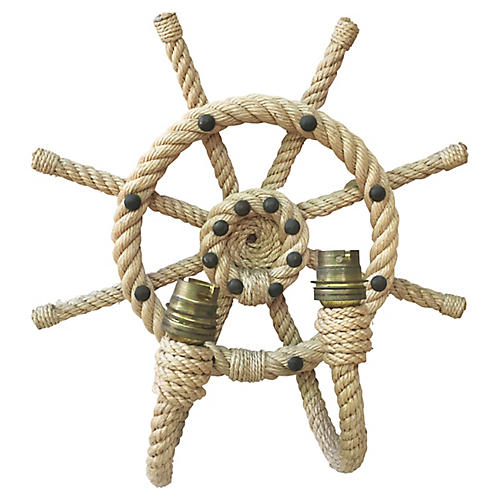 Rope Ship Wheel Sconce