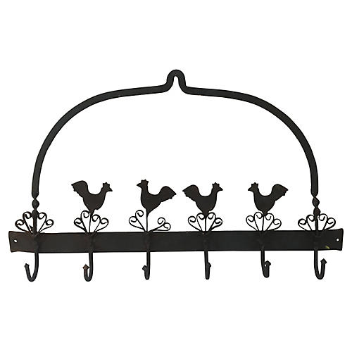 French Birds Iron Pot or Towel Rack