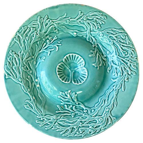 Majolica Aqua Seaweeds Plate Gien