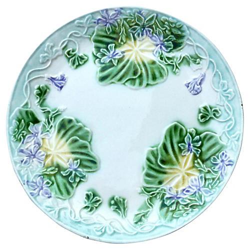 Majolica Violets Plate Circa 1900