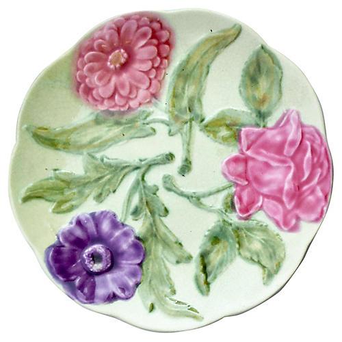 Majolica Flowers Plate