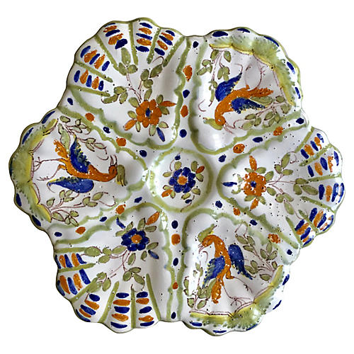 French Faience Oyster Plate