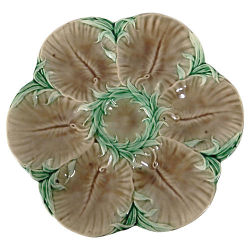 Majolica Oyster Plate Luneville
